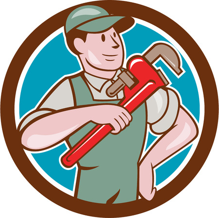 monkey wrench: Illustration of a plumber in overalls and hat pointing monkey wrench looking to the side set inside circle on isolated background done in cartoon style. Illustration