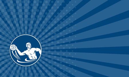 waterpolo: Tarjeta de negocios que muestra el icono de la ilustración de un jugador lanzando pelota de waterpolo fijó el círculo interior en el fondo aislado hecho en estilo retro. Foto de archivo