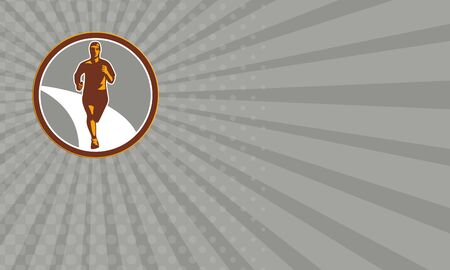 physical exercise: Business card showing illustration of marathon triathlete runner running facing front view set inside circle on isolated done in retro style.