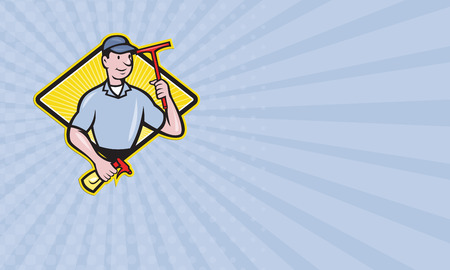 window cleaner: Business card showing illustration of window cleaner with squeegee and spray bottle set inside diamond shape done in cartoon style. Stock Photo