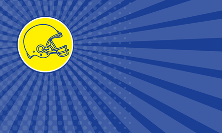 american football helmet set: Business card showing Line drawing illustration of an american football helmet viewed from the side set inside circle done in retro style.