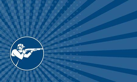 hombre disparando: Tarjeta de negocios que muestra el icono de la ilustración de un hombre con el disparo de escopeta apuntando en el deporte de tiro trampa visto desde el lado fijó el círculo interior en el fondo aislado hecho en estilo retro.
