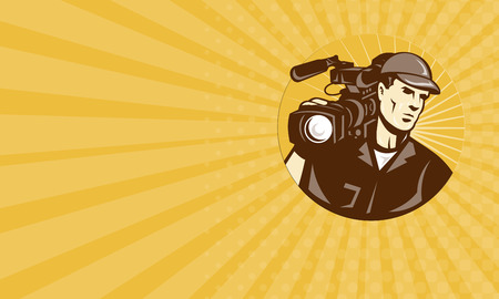 handycam: Business card showing illustration of a professional cameraman film crew with video movie camera camcorder viewed from front set inside circle with sunburst done in retro style. Stock Photo