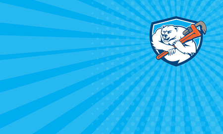 marine mammal: Business card showing Cartoon style illustration of a polar bear plumber holding monkey wrench on shoulder set inside shield crest  on isolated background.