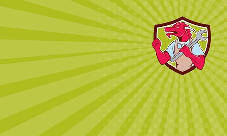 fist pump: Business card showing illustration of a red dragon mechanic facing side holding spanner on shoulder making fist pump set inside shield crest on isolated background done in cartoon style.