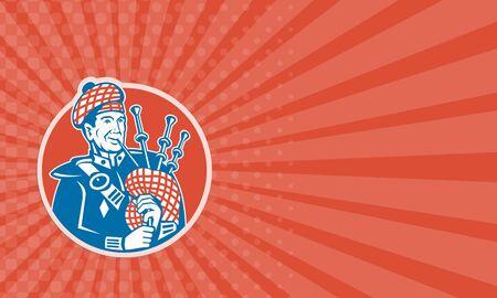 레트로 스타일을 이루어 원 안에 설정하는 백 파이프 스코틀랜드의 bagpiper 플레이어의 그림을 보여주는 비즈니스 카드. 스톡 콘텐츠 - 41593356
