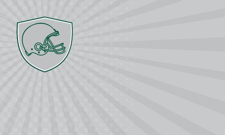 american football helmet set: Business card showing Line drawing illustration of an american football helmet viewed from the side set inside shield crest done in retro style.