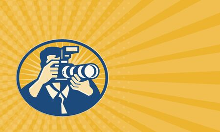 dslr: Business card showing illustration of a photographer shooting DSLR camera with flash and zoom lens set inside ellipse done in retro style.