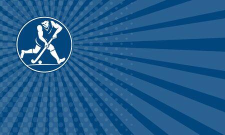 hockey sobre cesped: Tarjeta de negocios que muestra el icono de la ilustración de un jugador de hockey sobre césped se ejecuta con el palillo golpeando pelota visto desde el lado fijó el círculo interior hecho en estilo retro en el fondo aislado.