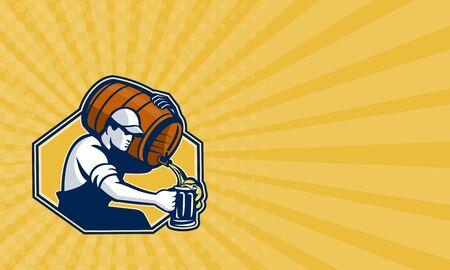 shoulder carrying: Business card showing illustration of a bartender worker with carrying beer barrel keg on shoulder pouring beer into glass mug.