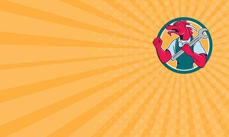 dragon rouge: Carte d'affaires montrant illustration d'un m�canicien de dragon rouge c�t� faisant face au tenant cl� sur l'�paule faisant Fist Pump mettre l'int�rieur du cercle sur fond isol� fait dans le style de bande dessin�e.