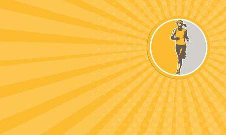 running race: Business card showing illustration of marathon triathlete runner running winning finishing race set inside circle on isolated background done in retro style.