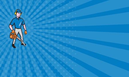 paysagiste: Carte d'affaires montrant style de bande dessinée illustration de mâle jardinier paysagiste, debout, tenue souffleur de feuilles mis sur fond blanc isolé.