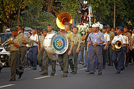 march band: MANILA- APR. 2: Members of the AFP General Headquarters military band march during the Good Friday procession in Camp Aguinaldo on April 2, 2010 in Manila, Philippines. Editorial