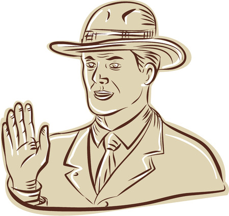 fedora: Etching engraving handmade style illustration of a businessman wearing vintage fedora hat waving looking to the side set on isolated white backgroudn. Illustration