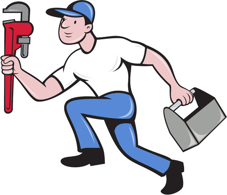 adjustable: Illustration of a plumber wearing hat running carrying adjustable wrench and toolbox viewed from the side set on isolated white background done in cartoon style. Illustration
