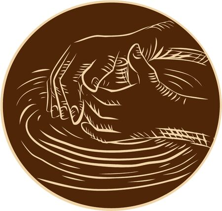 pottery: Etching engraving handmade style illustration of a potter hand shaping pottery clay viewed from the side set inside circle on isolated background.