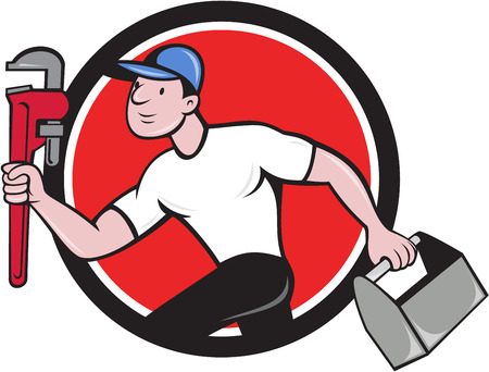 adjustable wrench: Illustration of a plumber wearing hat running carrying adjustable wrench and toolbox viewed from the side set inside circle on isolated background done in cartoon style.
