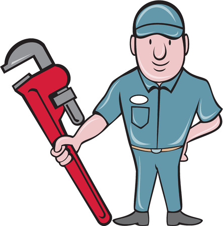 adjustable: Illustration of a plumber wearing hat standing in attention holding a giant adjustable wrench viewed from the front set on isolated white background done in cartoon style.