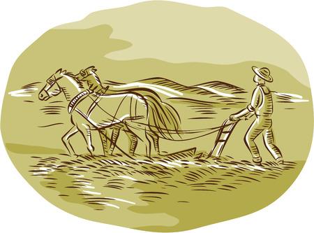 Etsen graveren handgemaakte stijl illustratie van boer en paarden ploegen veld van opzij gezien set binnen ovale vorm met bergen op de achtergrond.