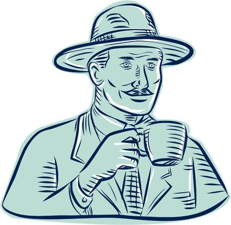 tomando café: Estilo de ilustración hecha a mano grabado Grabado de un hombre vestido con sombrero fedora época la celebración de la taza de café beber café situado en el fondo blanco aislado.