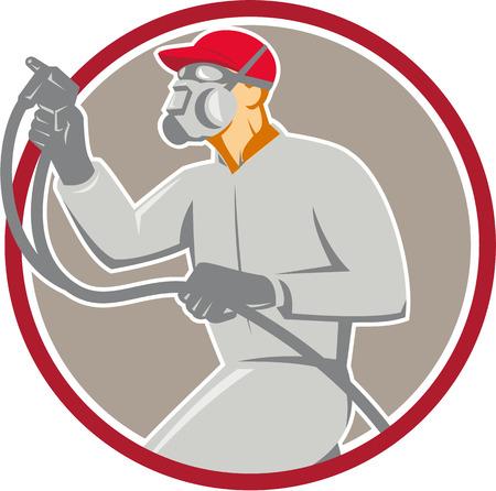 Illustratie van de auto schilder dragen masker met verf spuitpistool spuiten vanuit de set binnen cirkel gedaan in retro-stijl kant.