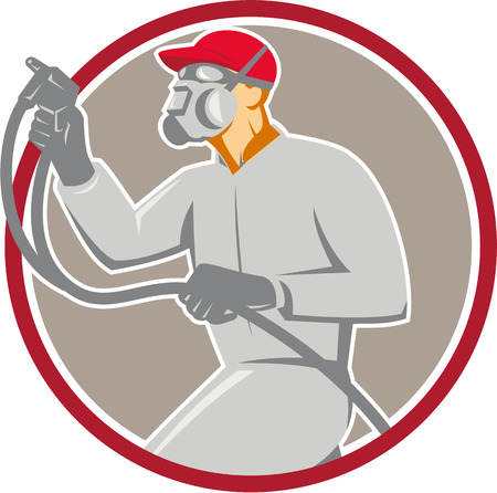 paint spray gun: Illustration of car painter wearing mask holding paint spray gun spraying viewed from the side set inside circle done in retro style.
