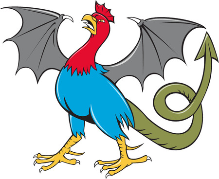 rump: Illustration of a basilisk , an animal with the head, torso and legs of a rooster, the tongue of a snake, the wings of a bat and with a snake-like rump that ends in an arrowpoint done in cartoon style on isolated background viewed from the side. Illustration