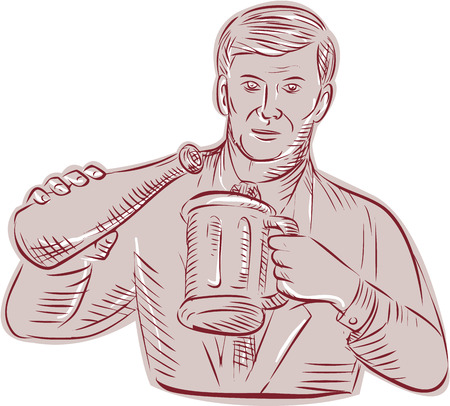 pouring: Etching engraving handmade style illustration of a man pouring beer in a mug viewed from front set on isolated white background.