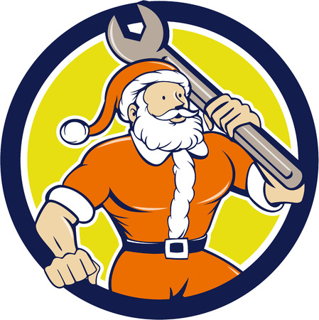 kris kringle: Illustration of santa claus saint nicholas father christmas mechanic carrying spanner wrench looking to the side set inside circle on isolated background done in cartoon style.