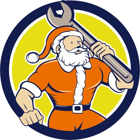 saint nicholas: Ilustraci�n de Pap� Noel San Nicol�s padre llevando llave inglesa mira a la cara fij� el c�rculo interior en el fondo aislado hecho en estilo de dibujos animados mec�nico de navidad.