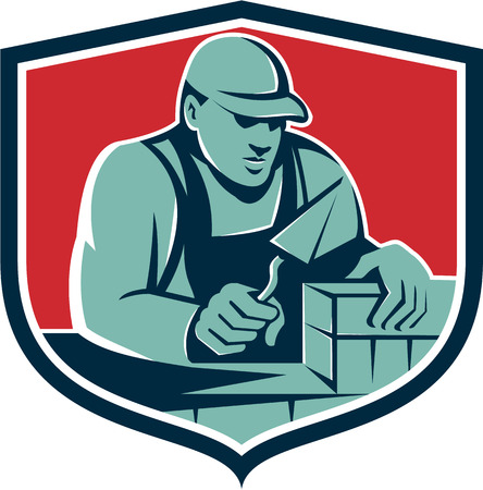 plasterer: Illustration of a mason masonry construction worker holding trowel working on bricks viewed from front set inside shield crest done in retro style.
