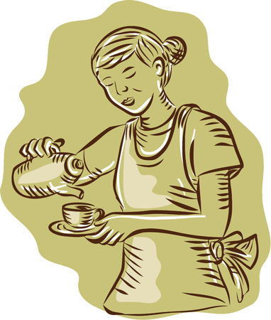 scratch board: Etching engraving handmade style illustration of a waitress holding teapot and cup pouring tea vintage style on isolated background.