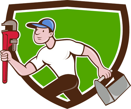 adjustable wrench: Illustration of a plumber wearing hat running carrying adjustable wrench and toolbox viewed from the side set inside crest shield on isolated background done in cartoon style.