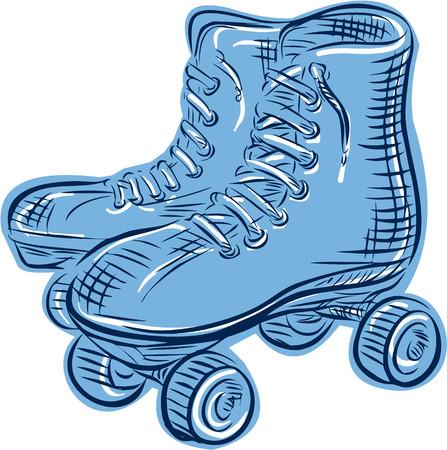 patinar: Ilustración de estilo artesanal de grabado Grabado de un par de vendimia usado patines vistos de lado situado en el fondo blanco aislado.
