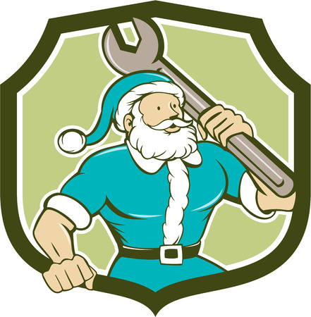 saint nicholas: Illustration of santa claus saint nicholas father christmas mechanic carrying spanner wrench looking to the side set inside shield crest on isolated background done in cartoon style.