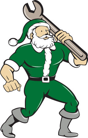 Illustration of santa claus saint nicholas father christmas mechanic standing carrying spanner wrench looking to the side set on isolated white background done in cartoon style.