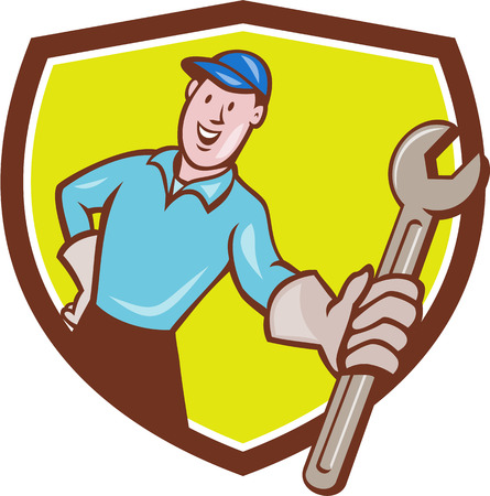 Illustration of a mechanic wearing hat and gloves holding presenting wrench spanner facing front set inside shield crest on isolated background done in cartoon style. Ilustração