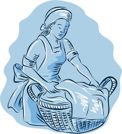 mucama: Estilo de ilustración hecha a mano grabado Grabado de una mujer de limpieza de lavandería con la cesta llena de ropa en el fondo aislado.
