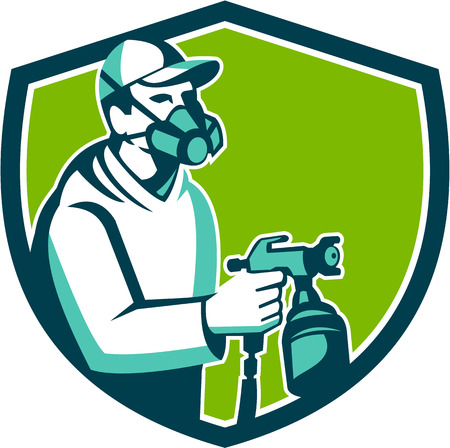 paint spray gun: Illustration of car painter wearing face mask holding paint spray gun spraying viewed from side set inside shield crest done in retro style.