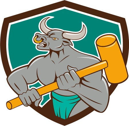 Illustration of a minotaur, mythological creature with the head of a bull and body of a man, holding a sledgehammer set inside shield crest on isolated background done in cartoon style.