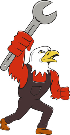 american bald eagle: Illustration of a american bald eagle mechanic holding spanner looking to the side set on isolated white background done in cartoon style. Illustration