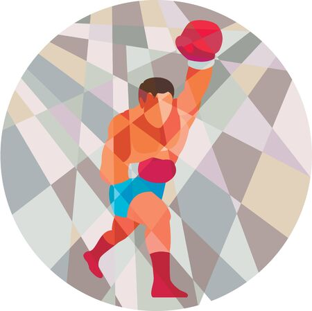 jab: Low polygon style illustration of a boxer boxing jabbing punching viewed from front set inside circle .