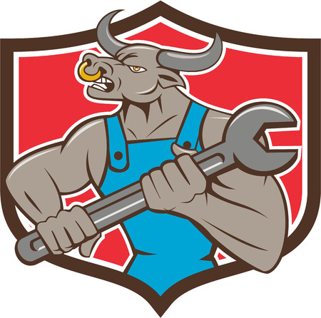 nose ring: Illustration of a minotaur bull mechanic looking to the side holding giant spanner set inside shield crest on isolated background done in cartoon style.