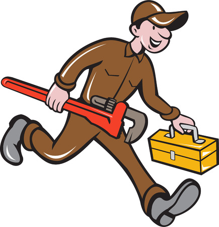 cartoon style: Illustration of a plumber in overalls and hat carrying monkey wrench and toolbox viewed from the side set on isolated background done in cartoon style. Illustration
