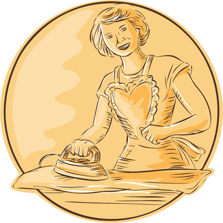 homemaker: Etching engraving handmade style illustration of a homemaker housewife ironing clothes vintage style viewed from front set inside circle on isolated background