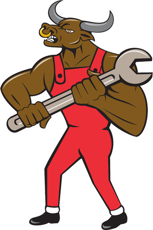 Illustration of a minotaur bull mechanic standing looking to the side holding giant spanner set on isolated white background done in cartoon style.