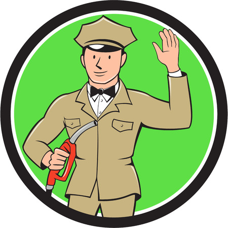 fuel pump: Illustration of fuel jockey gasoline attendant worker holding fuel pump nozzle waving hello viewed from the front  set inside circle on isolated background done in cartoon style.