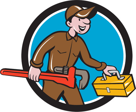 monkey wrench: Illustration of a plumber in overalls and hat carrying monkey wrench and toolbox viewed from the side set inside circle on isolated background done in cartoon style.