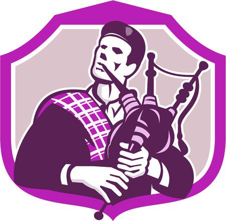 gaita: Ilustración de un hombre escocés escocés llevaba escocés de capo visten tocando la gaita mirando conjunto dentro de escudo protector en el fondo aislado hecho en estilo retro. Vectores